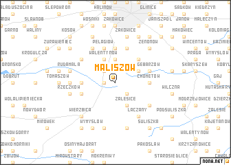 map of Maliszów
