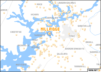 map of Mill Ridge