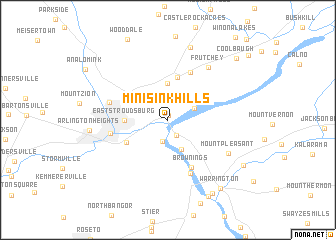map of Minisink Hills