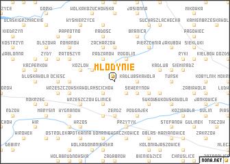 map of Młodynie