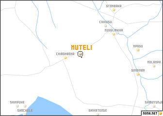 regional and 3d topo map of Muteli, Zambia ::