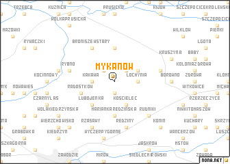 map of Mykanów