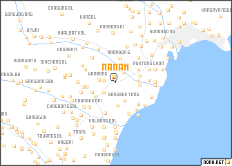 Nanam (Korea, North) map - nona.net on capital of korea, n. korea, map from florida to korea, area of russia near korea, pyongyang korea, world map korea,