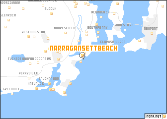 Narragansett Beach United States USA Map Nonanet - Usa map rhode island