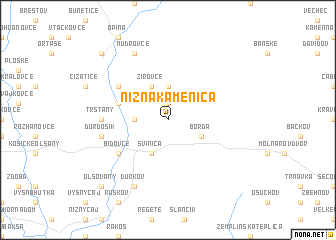 map of Nižná Kamenica