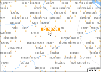 map of Opożdżew