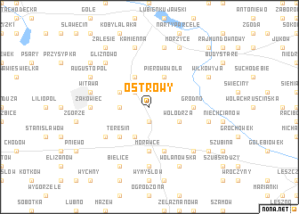 map of Ostrowy