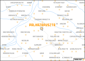 map of Pálházapuszta