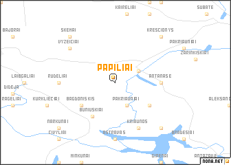 map of Papiliai