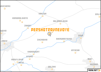 map of Pershotravnevoye