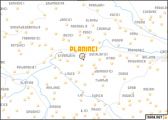 map of Planinci