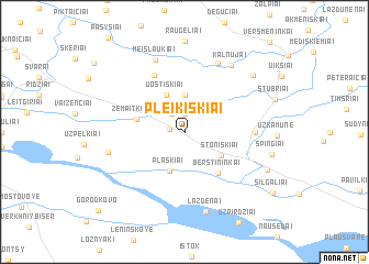 map of Pleikiškiai