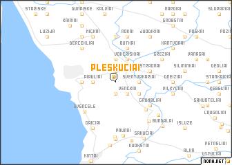 map of Pleškučiai
