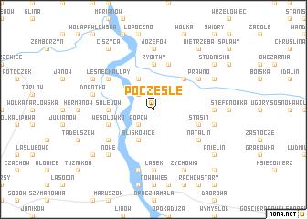 map of Pocześle