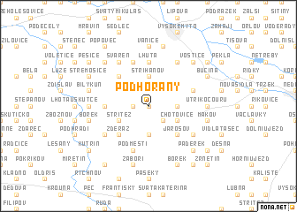 map of Podhořany