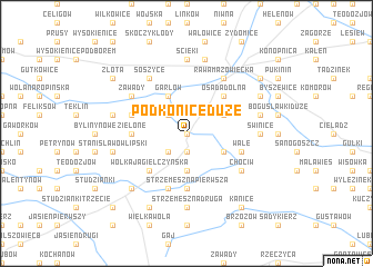 map of Podkonice Duże