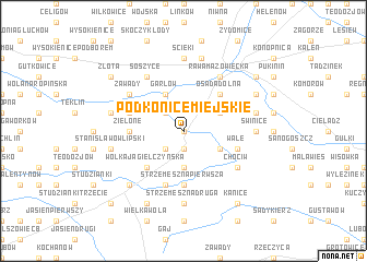 map of Podkonice Miejskie