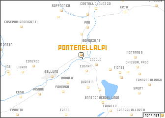 map of Ponte nell'Alpi