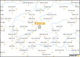 map of Poškai
