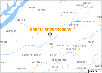 map of Powells Crossroads