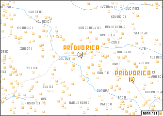 map of Pridvorica