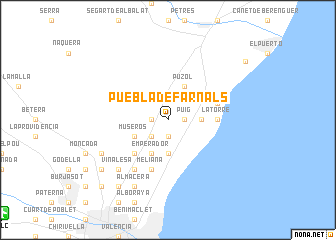 map of Puebla de Farnals