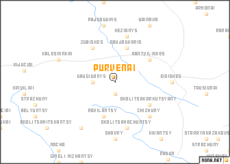 map of Purvėnai