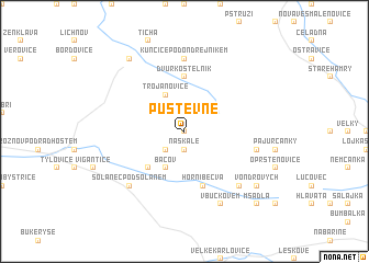 map of Pustevně