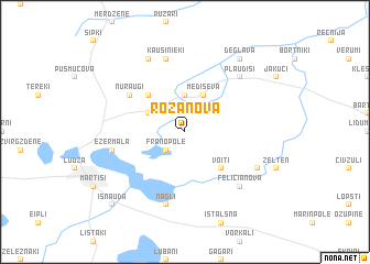 map of Rožanova