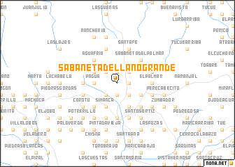 map of Sabaneta de Llano Grande