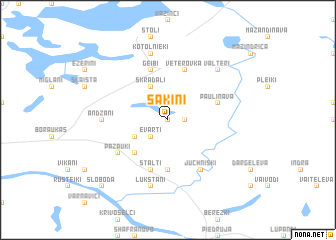 map of Šakiņi