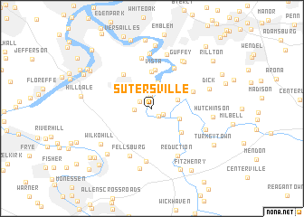 map of Sutersville