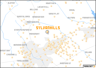 Sylvan Hills United States USA Map Nonanet - South carolina on usa map