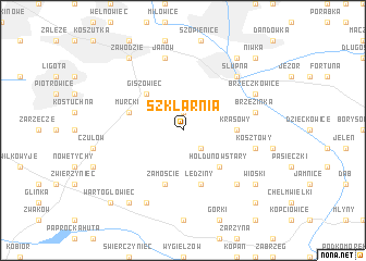 map of Szklarnia