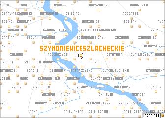 map of Szymoniewice Szlacheckie
