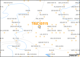 map of Taučionys
