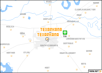 Texarkana (United States - USA) map - nona.net