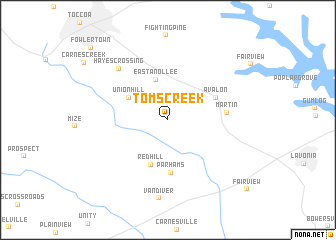 map of Toms Creek