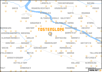 map of Tosterglope