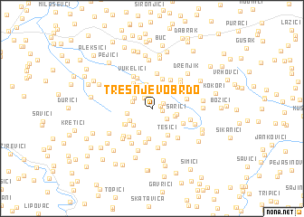 map of Trešnjevo Brdo