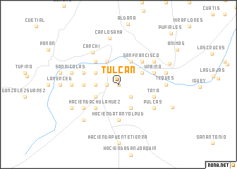 map of Tulcán