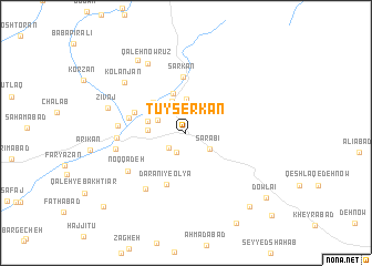 map of Tūyserkān