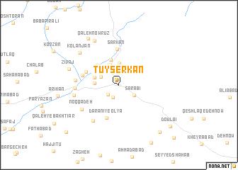map of Tūyserkān
