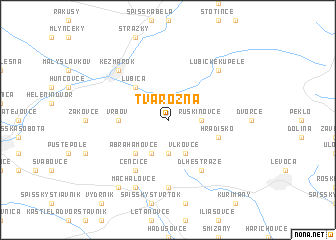 map of Tvarožná