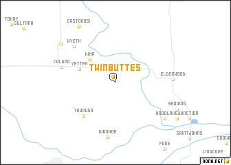 map of Twin Buttes