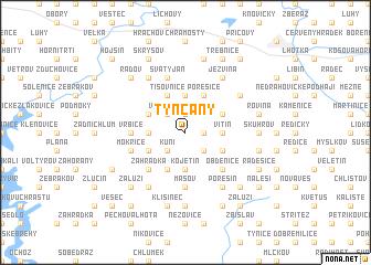 map of Týnčany