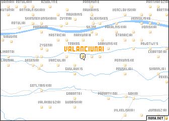map of Valančiūnai
