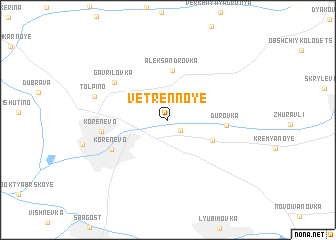 map of Vetrennoye