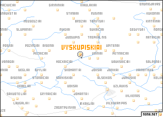 map of Vyskupiškiai