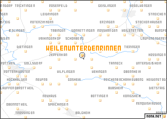 map of Weilen unter den Rinnen